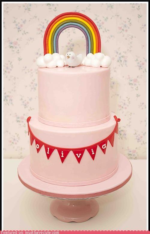 bird cake clouds epicute pink rainbow - 5312878336