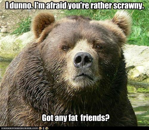 I dunno. I'm afraid you're rather scrawny. Got any fat friends?
