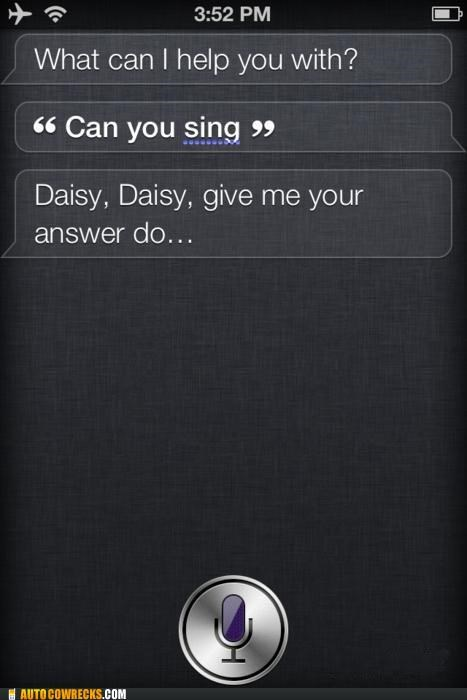 2001 a space odyssey,daisy,hal,sing,singing,siri
