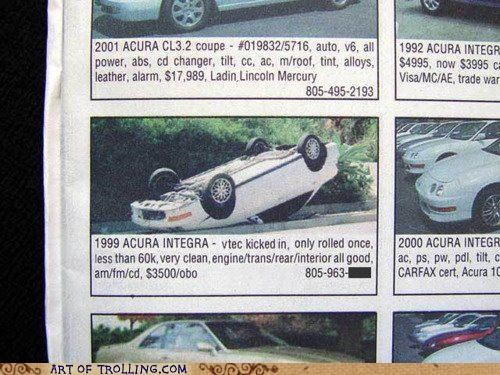 acura,for sale,rolled,shoppers beware