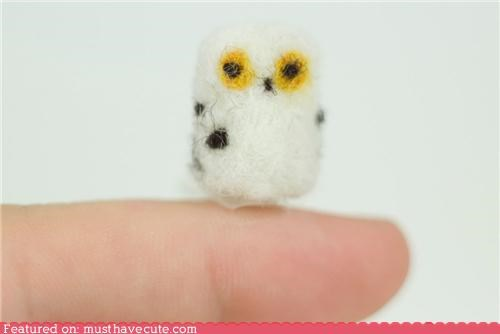 felt felted Owl tiny wool - 5313865728