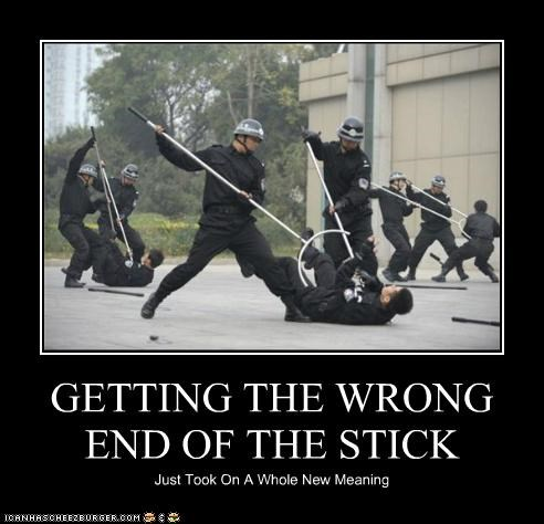GETTING THE WRONG END OF THE STICK Just Took On A Whole New Meaning