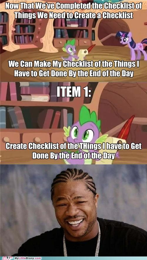 checklists,item 1,meme,poor spike,spike,twilight sparkle,yo dawg