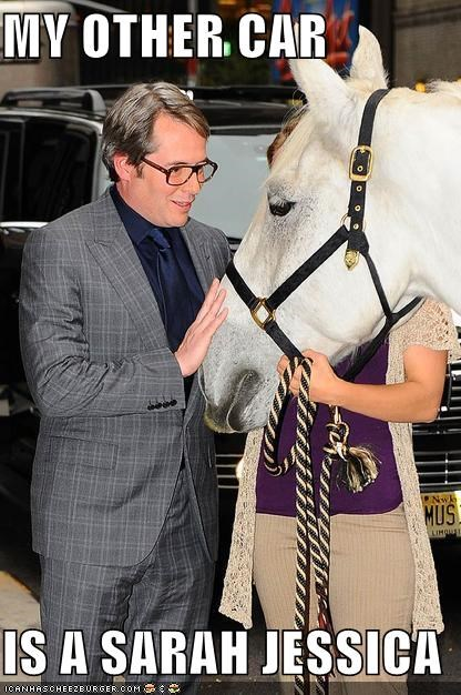 animals,cars,horses,matthew broderick,my other car,sarah jessica parker