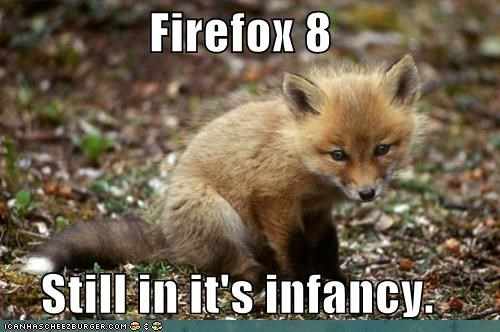 baby caption captioned firefox fox infancy kit still tiny version 8
