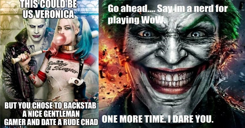 cringey memes of the gamer joker that keeps going on about how we live in a society