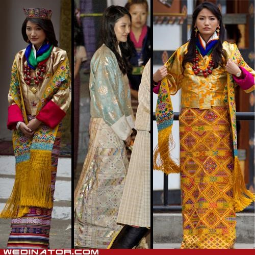 bhutan,bridal fashion,funny wedding photos,Jetsun Pema,king,queen,royal wedding,wedding couture,wedding fashion