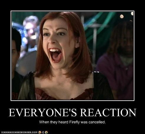 EVERYONE'S REACTION When they heard Firefly was cancelled.