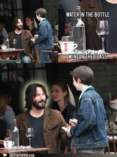 actor actors awesome god i knew it its-a-miracle keanu reeves miracle religion water into wine