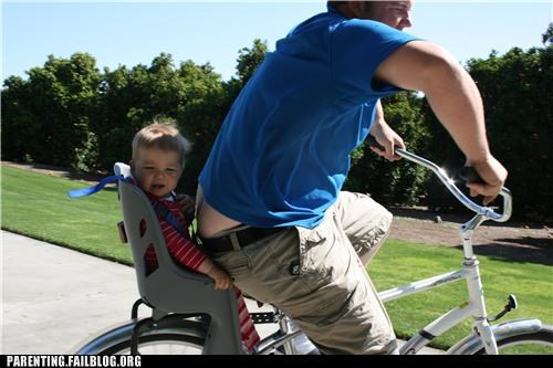 bike,dad,gross,parenting,Parenting Fail,plumbers crack,safety