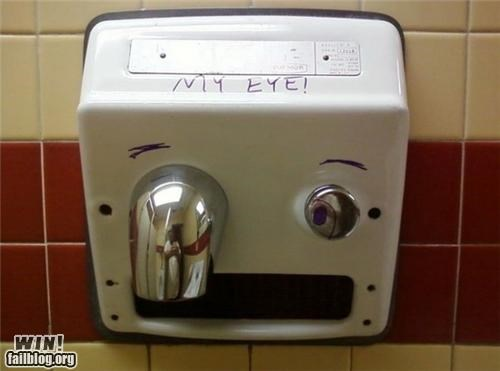 bathroom blow dryers eye face hacked irl hand dryer ouch - 5323198976