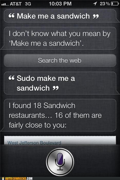Hall of Fame,iphone,make me a sandwich,sandwich,siri,sudo