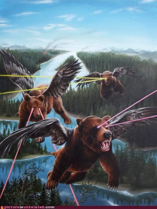 art,bears,eye lasers,flying,wings,wtf