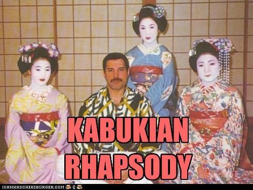 bohemian rhapsody,freddie mercury,geisha,kabuki,queen