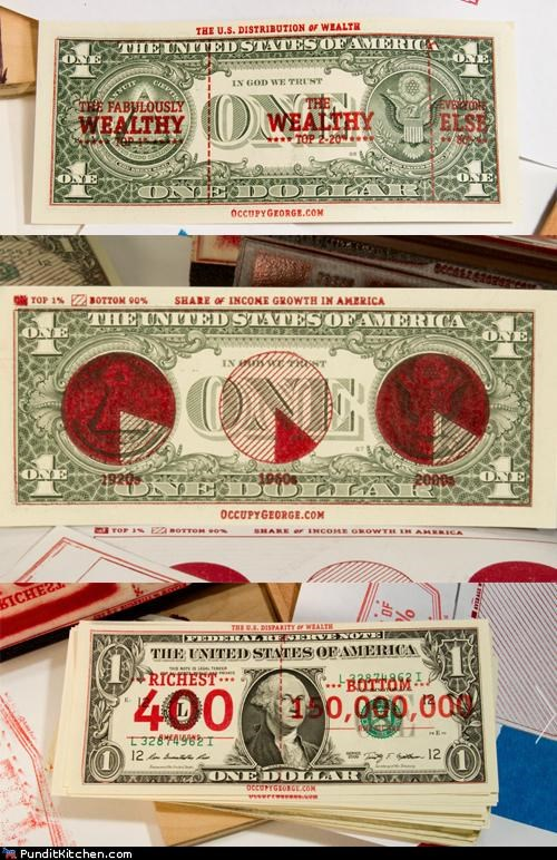 george washington,money,Occupy Wall Street,one-dollar bill,political pictures