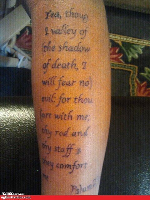 g rated,permanent,quotes,religion,spell check,spelling,tattoos,typos,Ugliest Tattoos,words