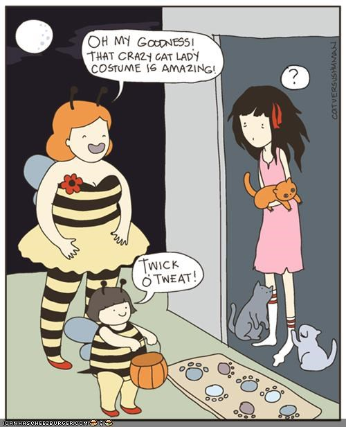 best of the week books caption contest cat versus human comic comics contests crazy cat lady halloween trick or treat - 5323546112