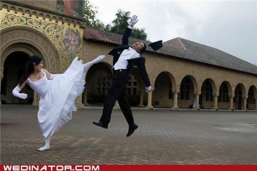 bride fight funny wedding photos groom kick - 5323958272