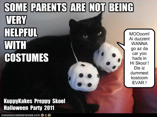KuppyKakes Preppy Skool Halloween Party 2011 SOME PARENTS ARE NOT BEING VERY HELPFUL WITH COSTUMES MOOoom! Ai duzzent WANNA go az da car yoo hads in Hi Skool ! Dis iz dummest kostoom EVAR !