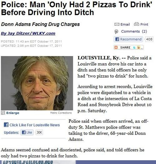 booze news crash drinking drunk driving non-alcoholic pizza