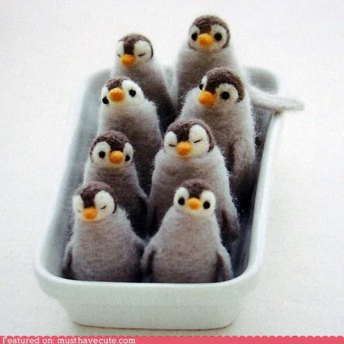 birds felted penguins tiny wool - 5325140992