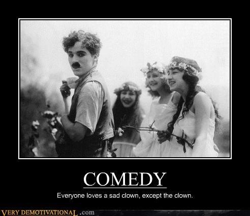 charlie chaplin,clown,hilarious,Sad