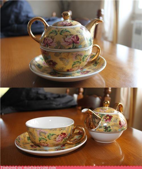 saucer set stack tea teacup teapot - 5326305792