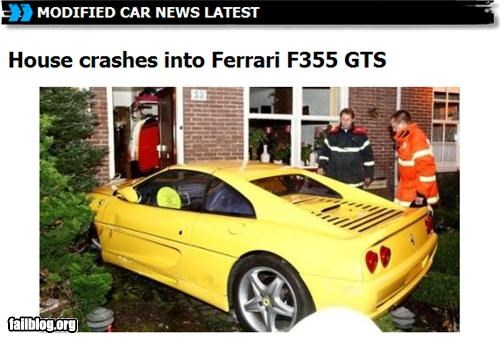 House crashes into Ferrari F355 GTS Damn houses allways blocking the roads