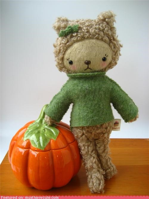 bear,bow,fall,green,halloween,Plush,pumpkins,sweater,wool