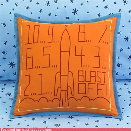 blast off countdown decor Pillow rocket throw pillow - 5327418368