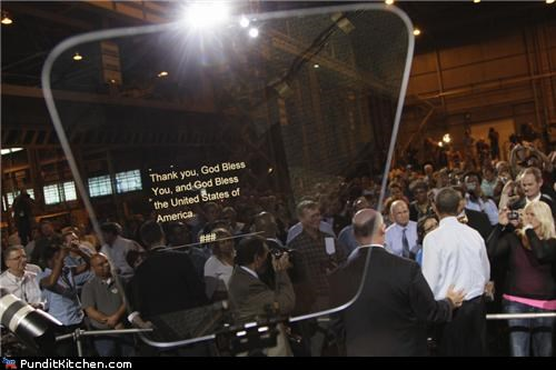 barack obama,bush,political pictures,Ronald Reagan,teleprompter