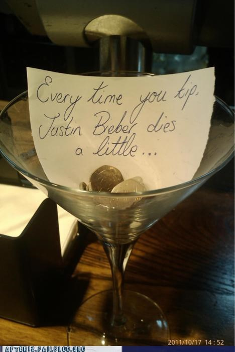 bar,change,Death,justin bieber,martini glass,tips