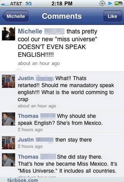 english,miss universe,racist,stupid