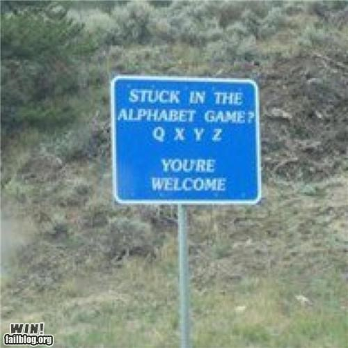 alphabet,game,help,road,road trip,sign