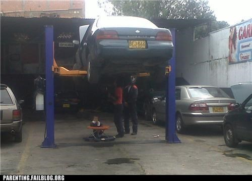 baby,car,dangerous,FAIL,mechanic,Parenting Fail,precarious,repair