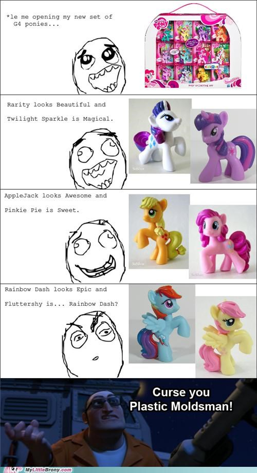 comics fluttershy plastic moldsman ponies Rage Comics rainbow dash toys - 5329933568