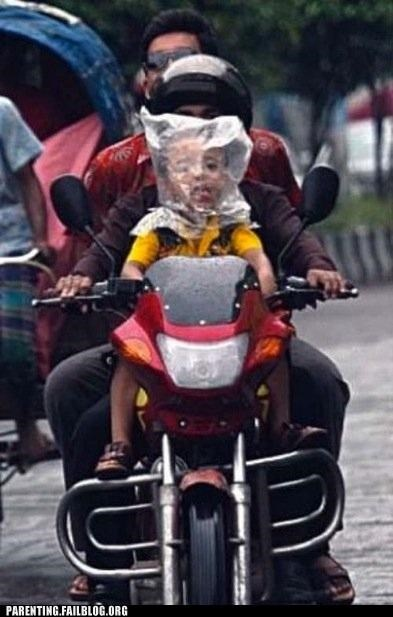 bag bike FAIL helmet motorcycle Parenting Fail safety suffocation