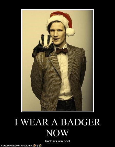badger,cool,doctor who,Matt Smith,santa hat,the doctor