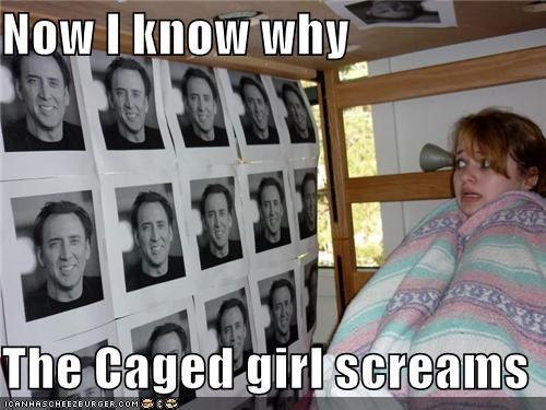 cage caged bird nicolas cage photographs puns scared - 5330459136