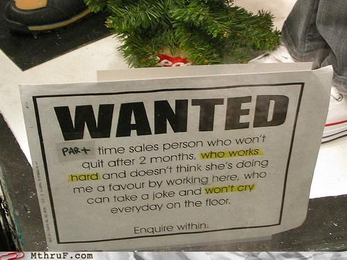 employment hiring job ad note part time passive aggressive sign - 5330780160