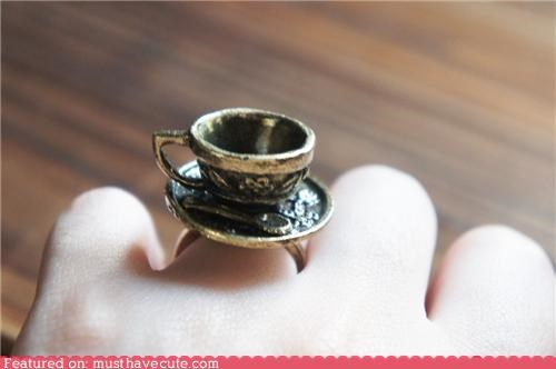 coffee cup Jewelry miniature ring silver spoon - 5330904320