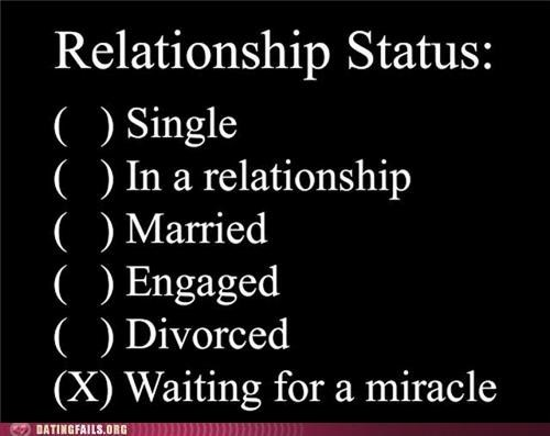 check one,desperate,miracle,multiple choice,relationships status,single,status,survey,We Are Dating
