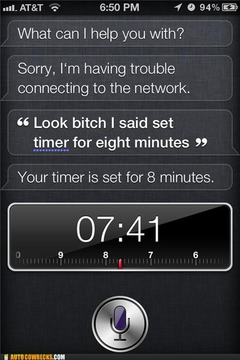 abuse,insult,iphone,name calling,siri,timer,verbal abuse