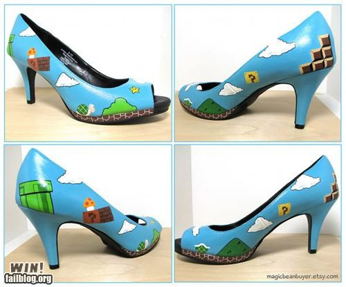 fashion,heel,high heels,mario,nerdgasm,nintendo,shoe,Super Mario bros