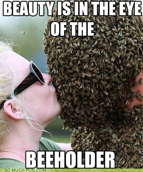 beauty bee beholder difference eye idiom letter literalism lolwut similar sounding pun words meme - 5331952384