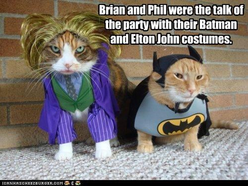 batman,caption,captioned,cat,Cats,costume,dressed up,elton john,joker,Party,talk