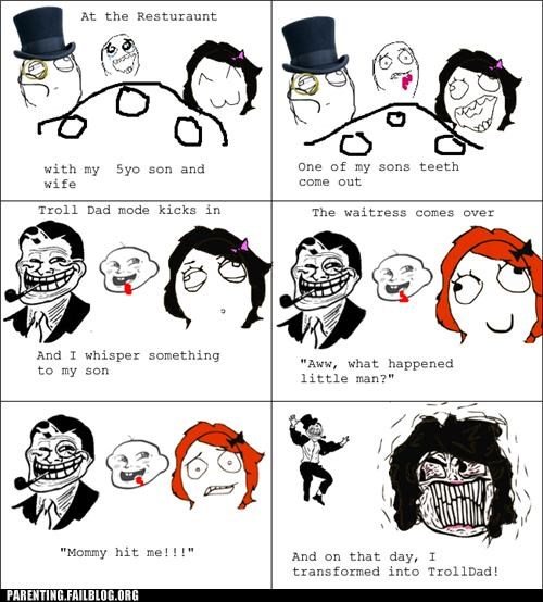 comic,Parenting Fail,rage comic,restaurant,teeth,trick,troll,troll dad