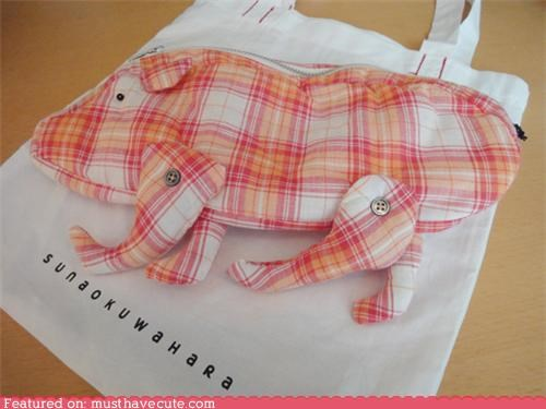 pig pink plaid purse zipper - 5332468480