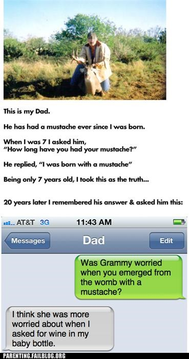 BAMF,dad,hunting,joke,manly,Parenting Fail,parenting WIN,text