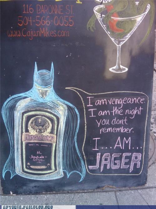 batman,booze,cajun-mikes,gotham,jagermeister,sign